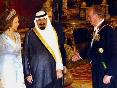 Saudi King receiving membership in the Knights of the Golden Fleece
